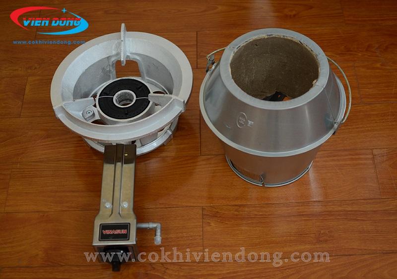 Bếp than và bếp gas lu quay vịt inox