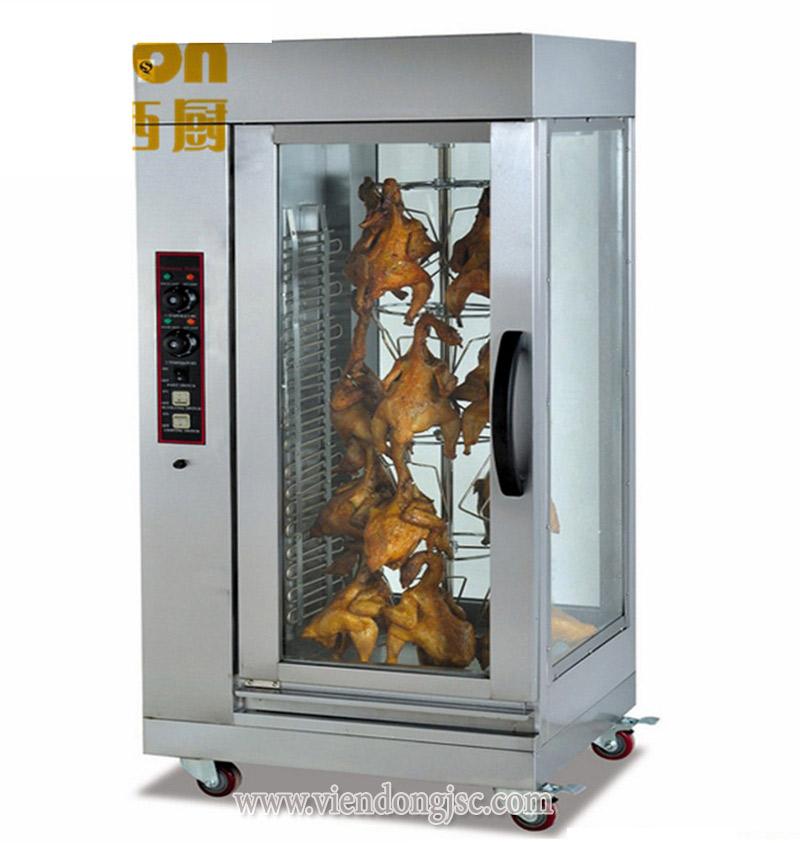 Treo vịt gà vào lò quay vịt bằng điện