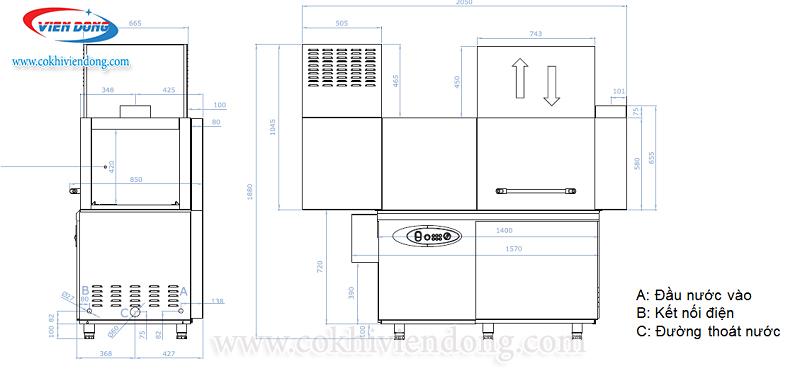 Bản vẽ chi tiết máy rửa bát công nghiệp cao cấp Ozti OBK 1500