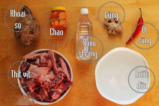 Nguyên liệu vịt nấu chao